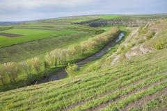 Paisaje de la primavera con el valle verde Imagen de archivo