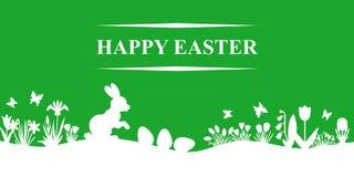 Paisaje de la primavera de Pascua en fondo verde