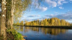 Paisaje de la primavera en el río de Ural, Rusia, Ural Foto de archivo libre de regalías