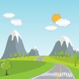 Paisaje de la primavera o de la historieta del verano, con el rastro del camino llevando hacia horizonte Foto de archivo