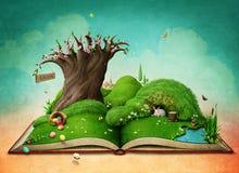 Paisaje de la primavera de Pascua en el libro stock de ilustración
