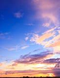 Paisaje de la puesta del sol Imagen de archivo libre de regalías