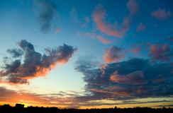 Paisaje de la puesta del sol Fotos de archivo