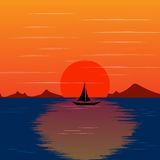 Paisaje de la puesta del sol con vector hermoso de la isla stock de ilustración