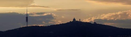 Paisaje de la puesta del sol de Barcelona Fotografía de archivo libre de regalías
