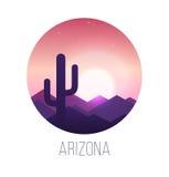 Paisaje de la puesta del sol del desierto Imágenes de archivo libres de regalías