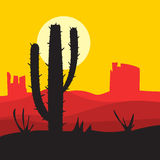 Paisaje de la puesta del sol del vector Fotografía de archivo libre de regalías