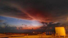 Paisaje de la puesta del sol después del trabajo g4 Imagen de archivo libre de regalías