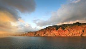 Paisaje de la puesta del sol, isla de Madeira (Portugal) Fotos de archivo