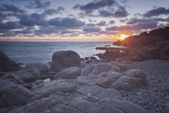 Paisaje de la puesta del sol de Kullaberg Foto de archivo libre de regalías
