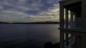 Paisaje de la puesta del sol de las Islas Vírgenes del ` de la vista al mar del ` imagenes de archivo