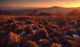 Paisaje de la puesta del sol del otoño Foto de archivo