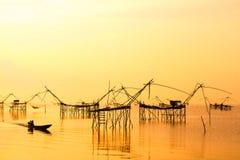 Paisaje de la red de inmersión cuadrada o languagemade de YoThai del bambú Fotos de archivo