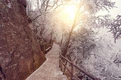 Paisaje de la salida del sol del invierno en el parque nacional de Huangshan Fotos de archivo