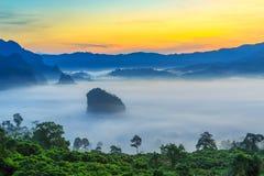 Paisaje de la salida del sol en la montaña en Phu Langka, provincia de Payao, Tailandia fotografía de archivo