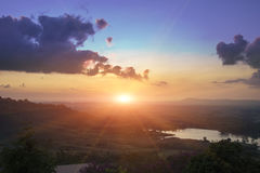 paisaje de la salida del sol natural Fotografía de archivo libre de regalías