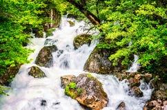 Paisaje de la selva con agua de la turquesa que fluye de la cascada georgiana de la cascada en la montaña de color verde oscuro d fotografía de archivo