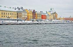Paisaje de la tarde de la ciudad vieja de Estocolmo en Suecia en invierno Imagenes de archivo