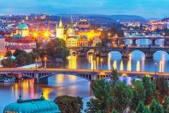 Paisaje de la tarde de Praga, República Checa Foto de archivo libre de regalías