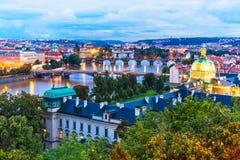 Paisaje de la tarde de Praga, República Checa Fotografía de archivo libre de regalías