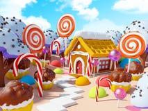 Paisaje de la tierra del caramelo stock de ilustración