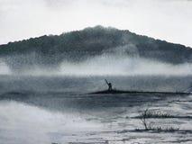 Paisaje de la tinta de la acuarela la pesca del hombre stock de ilustración