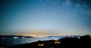 Paisaje de la vía láctea del cielo nocturno almacen de metraje de vídeo