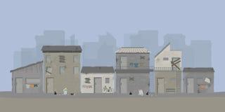 Paisaje de la zona urbana de la ciudad de los tugurios o de los tugurios viejos de la ciudad libre illustration