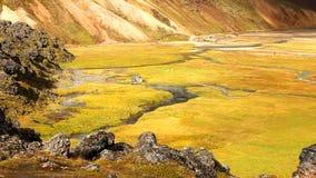 Paisaje de Landmannalaugar de Islandia con sus aguas termales geotérmicas almacen de video