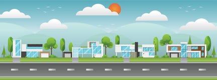 Paisaje de las casas modernas con el árbol, nubes y a lo largo de los caminos Imagenes de archivo