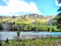 Paisaje de las montañas de la pintura de la acuarela del fondo Imagen de archivo libre de regalías