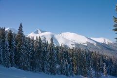 Paisaje de las montañas del invierno. Bulgaria, Bansko foto de archivo