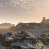 paisaje de las montañas del invierno de la fantasía 3D Fotografía de archivo libre de regalías