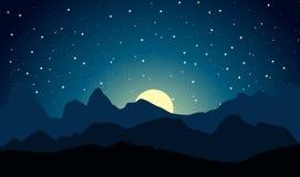 Paisaje de las montañas en la noche iluminada por la luna Fondo de la naturaleza libre illustration