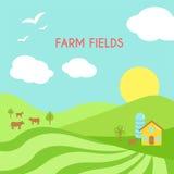 Paisaje de los campos de granja Campo verde de la historieta de la siembra libre illustration
