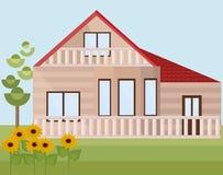 Paisaje de los girasoles de la casa de madera o de la granja Estilo plano de la fachada del vector Fotos de archivo libres de regalías