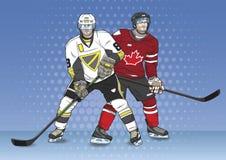 Paisaje de los jugadores del hockey sobre hielo Foto de archivo libre de regalías