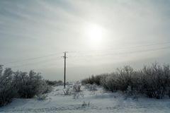 Paisaje de los Urales meridionales en invierno fotografía de archivo libre de regalías