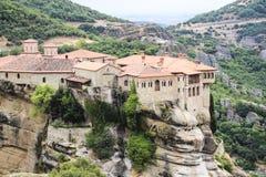 Paisaje de monasterios en el monte Athos en Grecia, mucha altitud Foto de archivo libre de regalías