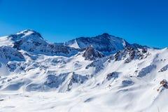 Paisaje de montañas, Tignes, Francia del invierno Imágenes de archivo libres de regalías