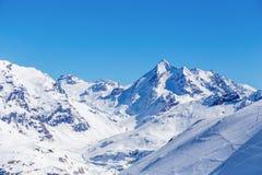 Paisaje de montañas, Tignes, Francia del invierno Fotos de archivo libres de regalías