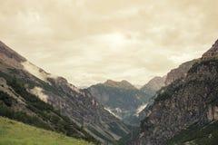 Paisaje de montañas y de la hierba del Tyrol del sur en Italia Foto de archivo