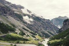 Paisaje de montañas y de la hierba del Tyrol del sur en Italia Fotos de archivo libres de regalías
