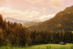 Paisaje de montañas y de la hierba del Tyrol del sur en Italia Foto de archivo libre de regalías