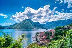 Paisaje de Montenegro Perast Fotos de archivo