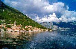 Paisaje de Montenegro Perast Foto de archivo