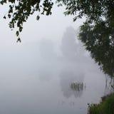 Paisaje de niebla con un lago Imágenes de archivo libres de regalías