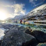 Paisaje de Norwgian Paisaje hermoso de la primavera de Noruega Imagen de archivo