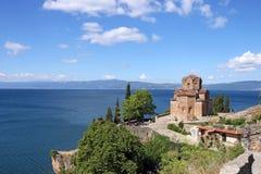 Paisaje de Ohrid Macedonia de la iglesia ortodoxa de Jovan Kaneo Fotos de archivo