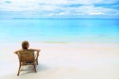 Paisaje de palmeras y del océano en fondo del cielo azul Fotografía de archivo libre de regalías